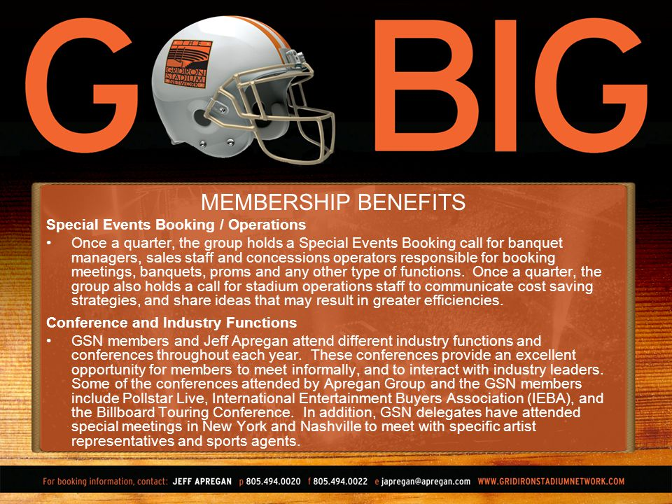 MEMBERSHIP BENEFITS Special Events Booking / Operations Once a quarter, the group holds a Special Events Booking call for banquet managers, sales staff and concessions operators responsible for booking meetings, banquets, proms and any other type of functions.