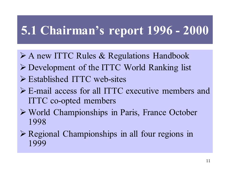 Chairmans report A new ITTC Rules & Regulations Handbook Development of the ITTC World Ranking list Established ITTC web-sites  access for all ITTC executive members and ITTC co-opted members World Championships in Paris, France October 1998 Regional Championships in all four regions in 1999