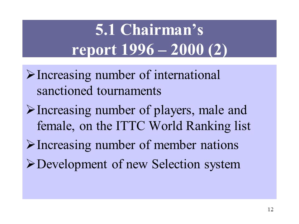 12 Increasing number of international sanctioned tournaments Increasing number of players, male and female, on the ITTC World Ranking list Increasing number of member nations Development of new Selection system 5.1 Chairmans report 1996 – 2000 (2)