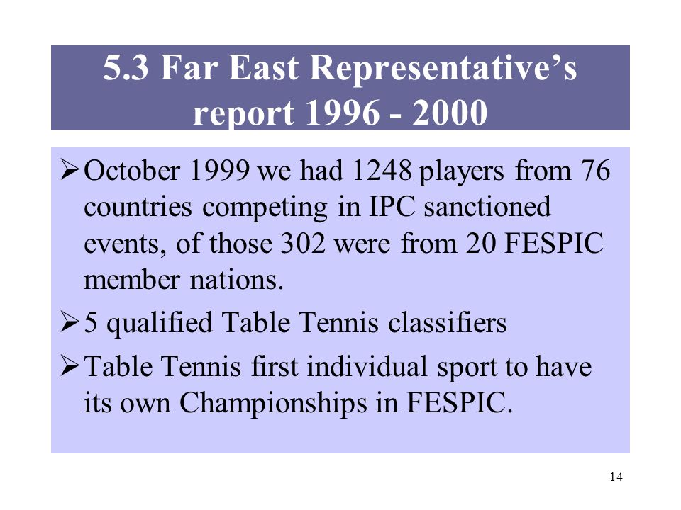 14 5.3 Far East Representatives report 1996 - 2000 October 1999 we had 1248 players from 76 countries competing in IPC sanctioned events, of those 302 were from 20 FESPIC member nations.