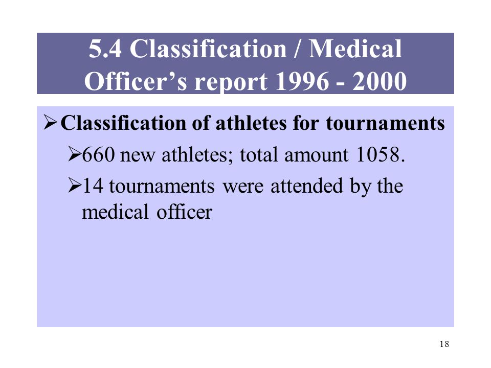 18 5.4 Classification / Medical Officers report 1996 - 2000 Classification of athletes for tournaments 660 new athletes; total amount 1058.