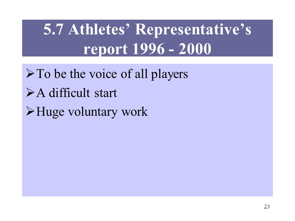 23 5.7 Athletes Representatives report 1996 - 2000 To be the voice of all players A difficult start Huge voluntary work