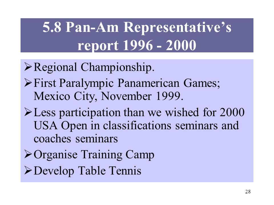 28 5.8 Pan-Am Representatives report 1996 - 2000 Regional Championship.