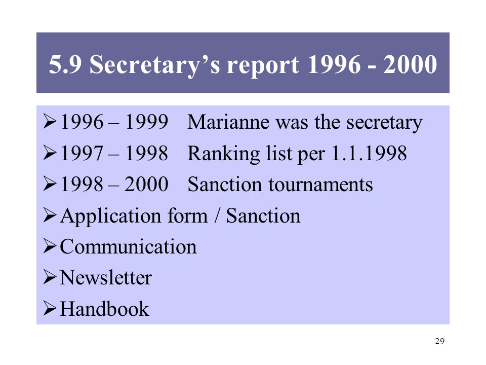 Secretarys report – 1999Marianne was the secretary 1997 – 1998Ranking list per – 2000Sanction tournaments Application form / Sanction Communication Newsletter Handbook