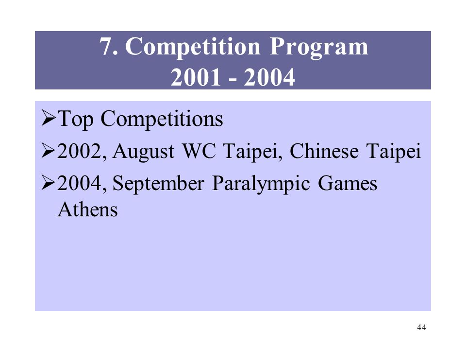44 7. Competition Program 2001 - 2004 Top Competitions 2002, August WC Taipei, Chinese Taipei 2004, September Paralympic Games Athens