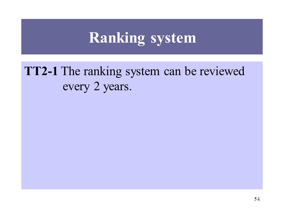 54 TT2-1 The ranking system can be reviewed every 2 years. Ranking system