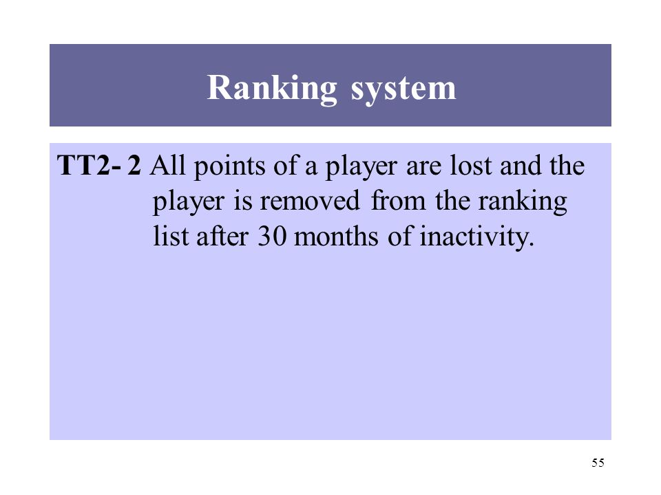 55 Ranking system TT2- 2 All points of a player are lost and the player is removed from the ranking list after 30 months of inactivity.