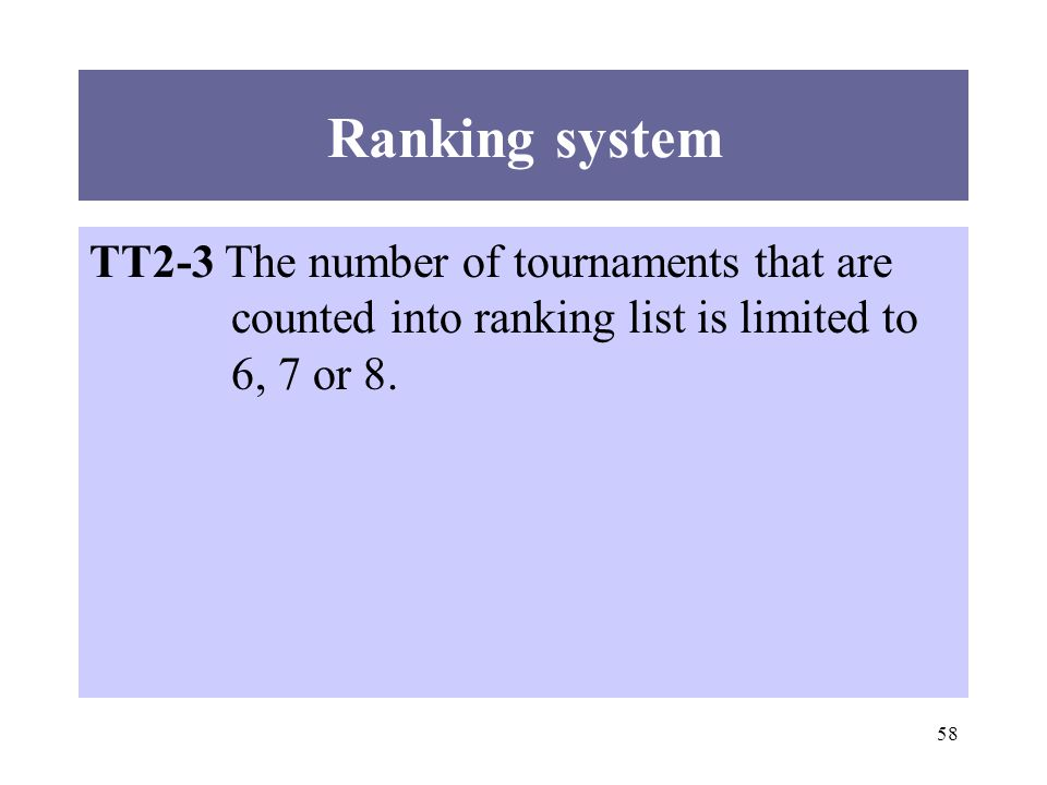 58 Ranking system TT2-3 The number of tournaments that are counted into ranking list is limited to 6, 7 or 8.