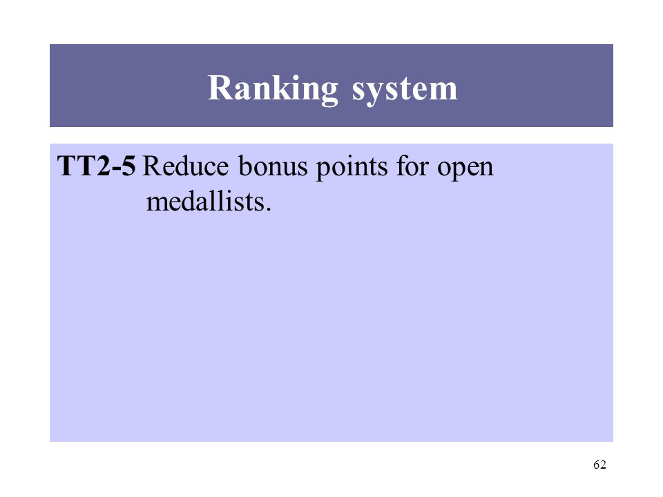 62 TT2-5 Reduce bonus points for open medallists. Ranking system