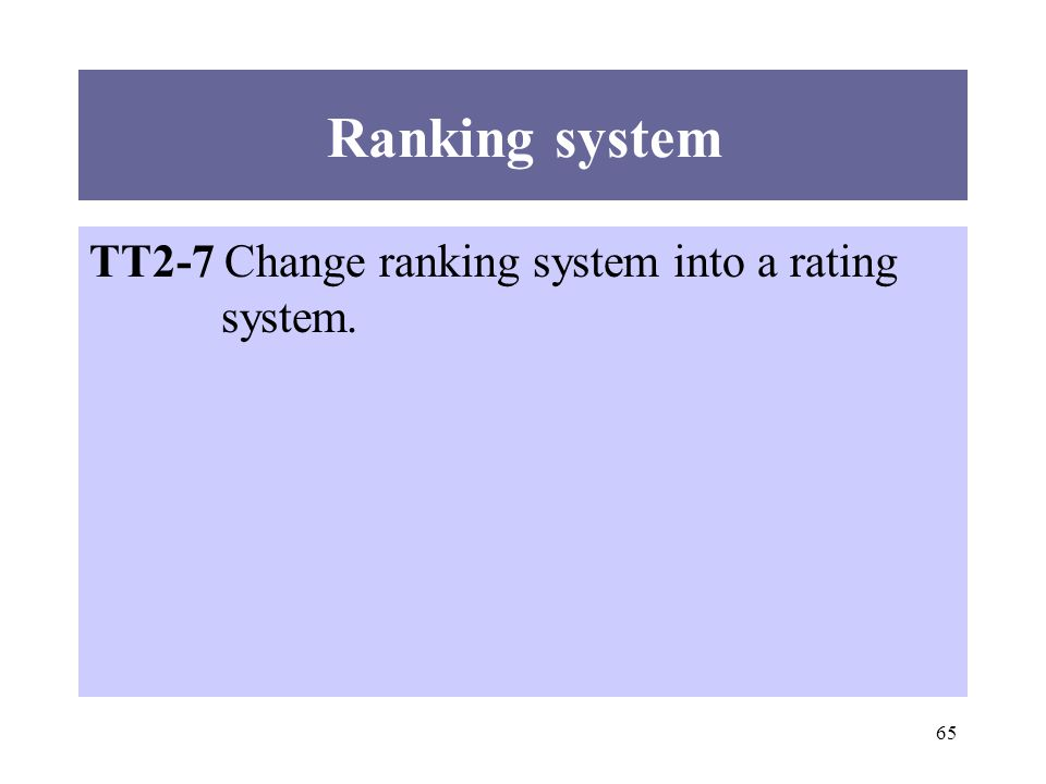 65 TT2-7 Change ranking system into a rating system. Ranking system