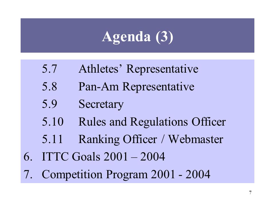 7 Agenda (3) 5.7Athletes Representative 5.8Pan-Am Representative 5.9Secretary 5.10Rules and Regulations Officer 5.11Ranking Officer / Webmaster 6.ITTC Goals 2001 – Competition Program