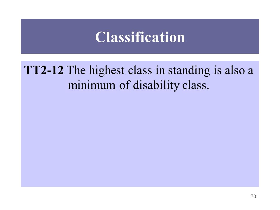 70 Classification TT2-12 The highest class in standing is also a minimum of disability class.