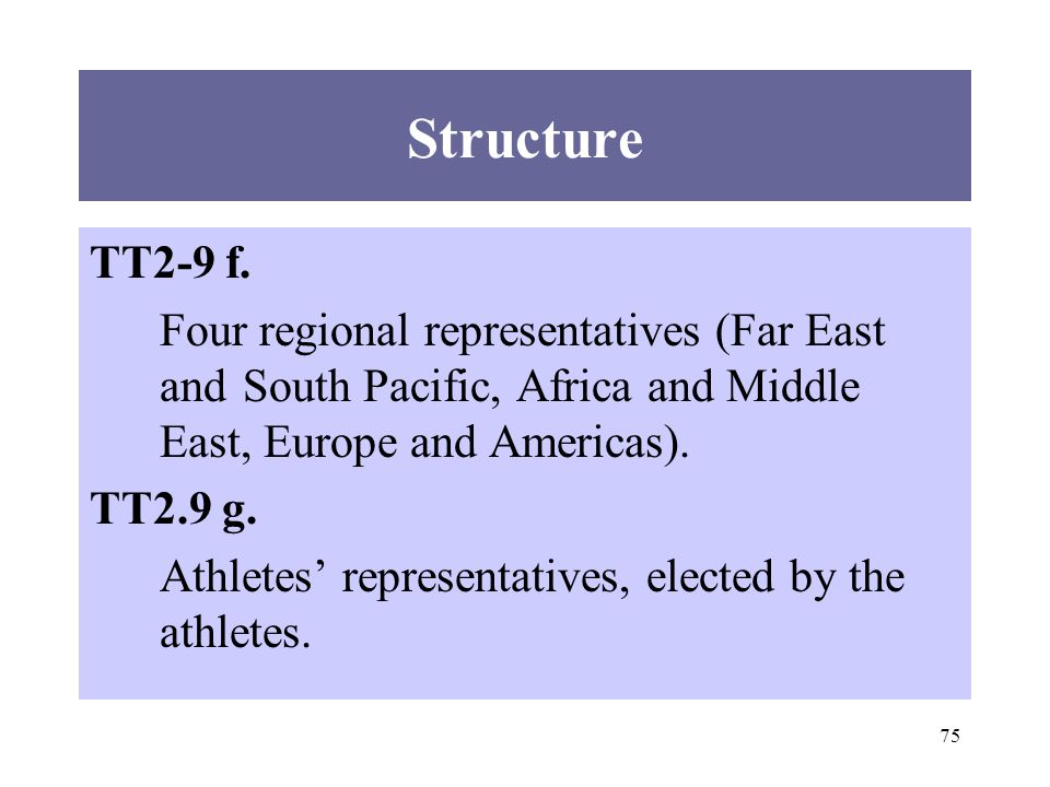 75 TT2-9 f. Four regional representatives (Far East and South Pacific, Africa and Middle East, Europe and Americas). TT2.9 g. Athletes representatives