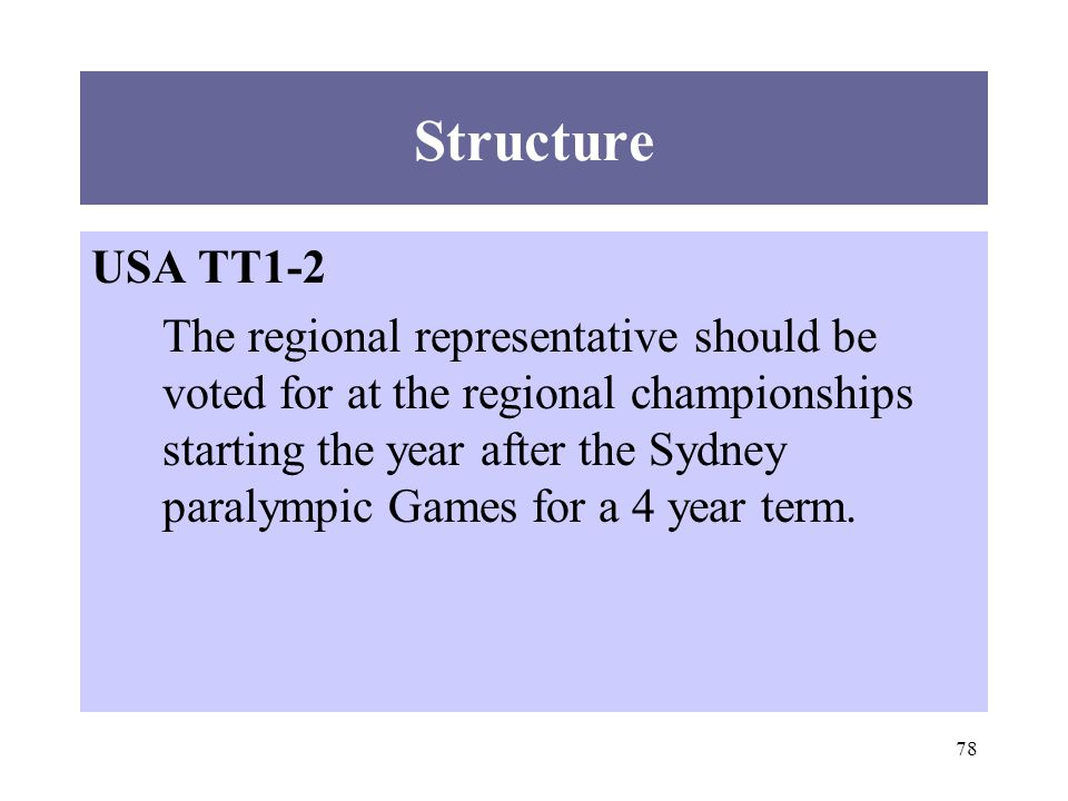 78 Structure USA TT1-2 The regional representative should be voted for at the regional championships starting the year after the Sydney paralympic Games for a 4 year term.