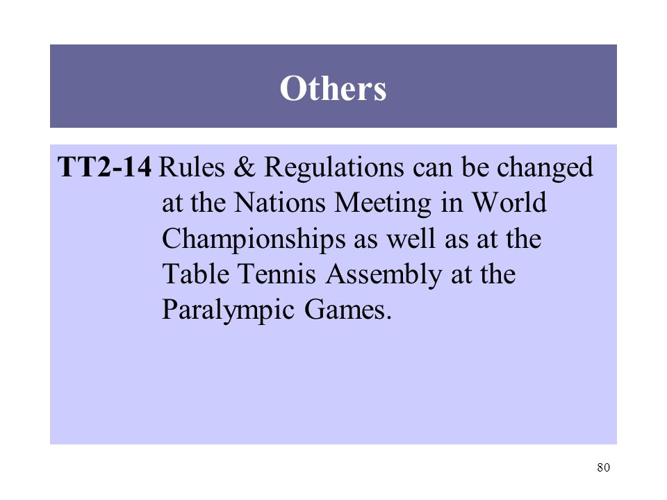 80 Others TT2-14 Rules & Regulations can be changed at the Nations Meeting in World Championships as well as at the Table Tennis Assembly at the Paral