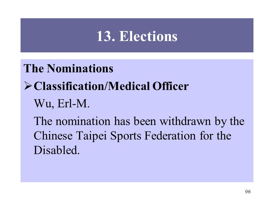 96 13. Elections The Nominations Classification/Medical Officer Wu, Erl-M.