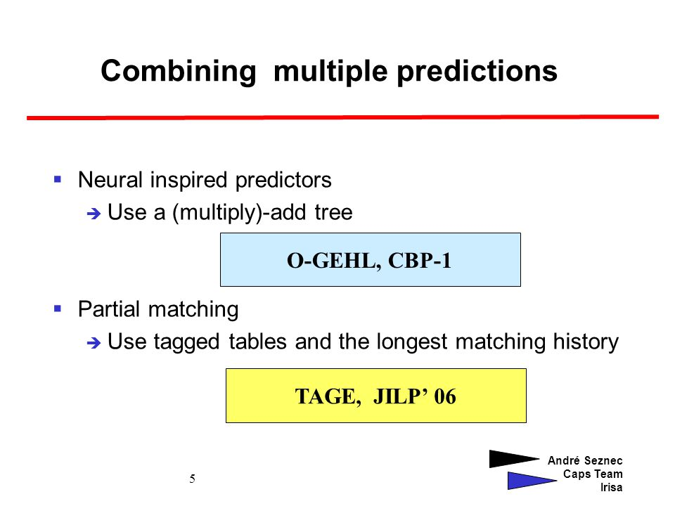 André Seznec Caps Team Irisa 5 Combining multiple predictions Neural inspired predictors Use a (multiply)-add tree Partial matching Use tagged tables and the longest matching history O-GEHL, CBP-1 TAGE, JILP 06