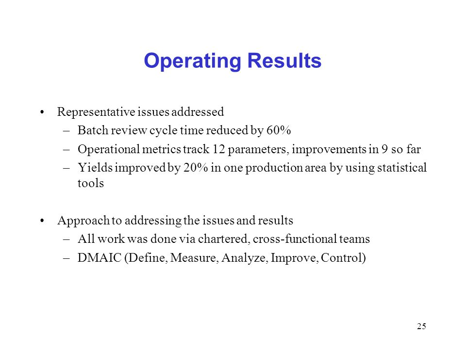 25 Operating Results Representative issues addressed –Batch review cycle time reduced by 60% –Operational metrics track 12 parameters, improvements in