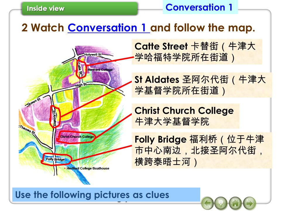 2 Watch Conversation 1 and follow the map.Conversation 1 Use the following pictures as clues Catte Street St Aldates Christ Church College Folly Bridge