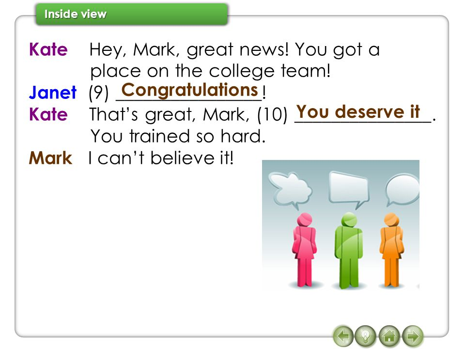 Kate Hey, Mark, great news. You got a place on the college team.