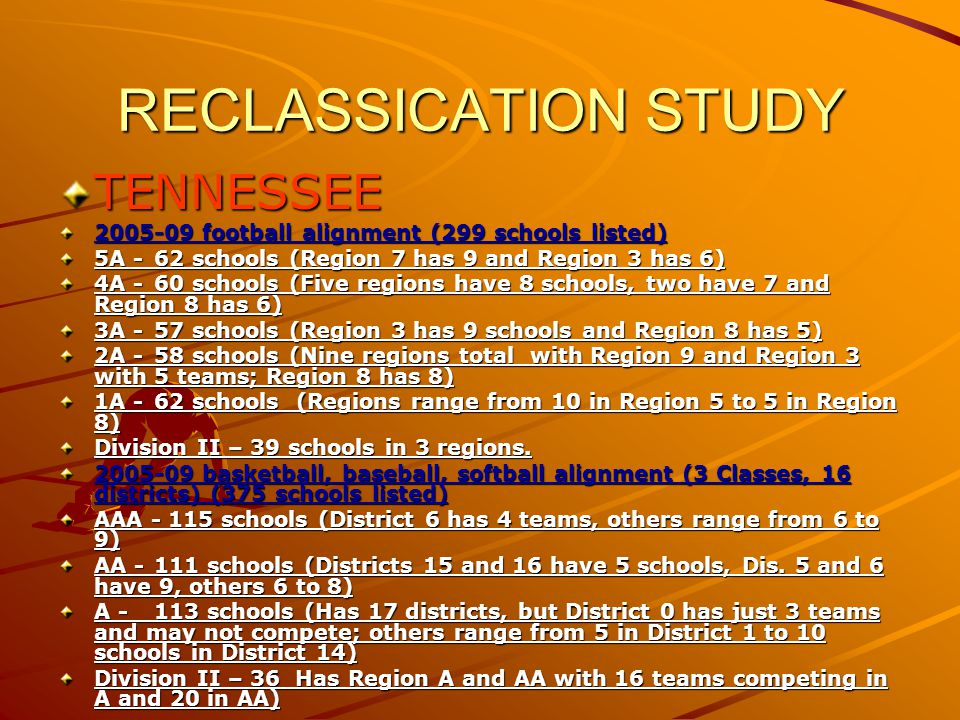 RECLASSICATION STUDY FLORIDA Florida has three categories for alignment: Football Team sports Individual sports (includes wrestling, tennis, golf, track) – state team champs are decided by adding individual player totals – like Alabama CLASSIFICATIONS ARE DECIDED BY TOTAL NUMBER OF SCHOOLS DIVIDED BY EIGHT BASICALLY 2006-08 football alignment 6A -83 schools (2,584 to 4,742 students) 5A - 81 schools (2,055 to 2,583 students) 4A - 82 schools (1,708 to 2,054 students) 3A - 82 schools (1067 to 1,708 students) 2A - 41 schools (617 to 1,066 students) 2B - 41 schools (411 to 616 students) 1A - 42 schools (233 to 410 students) 1B - 47 schools (50 to 232 students) Teams play in 4 to 7 team areas based on geography 32-team brackets for playoffs (area winner and runner-up) from 16 areas in classes 6A through 3A.
