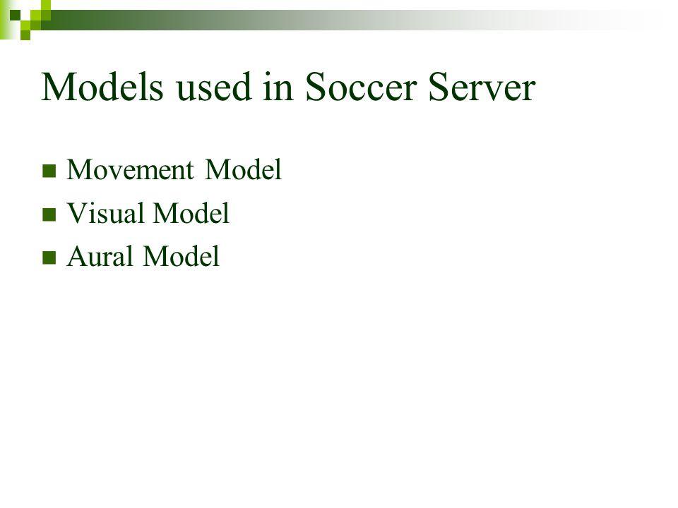 Models used in Soccer Server Movement Model Visual Model Aural Model