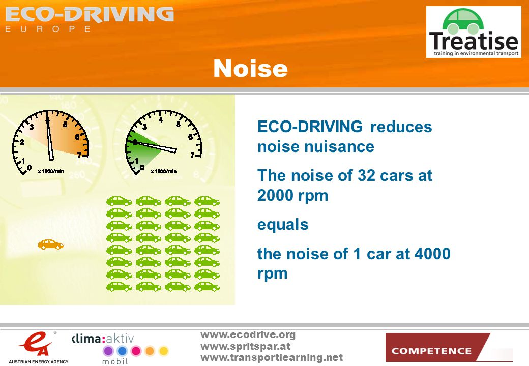 www.ecodrive.org www.spritspar.at www.transportlearning.net Noise ECO-DRIVING reduces noise nuisance The noise of 32 cars at 2000 rpm equals the noise of 1 car at 4000 rpm