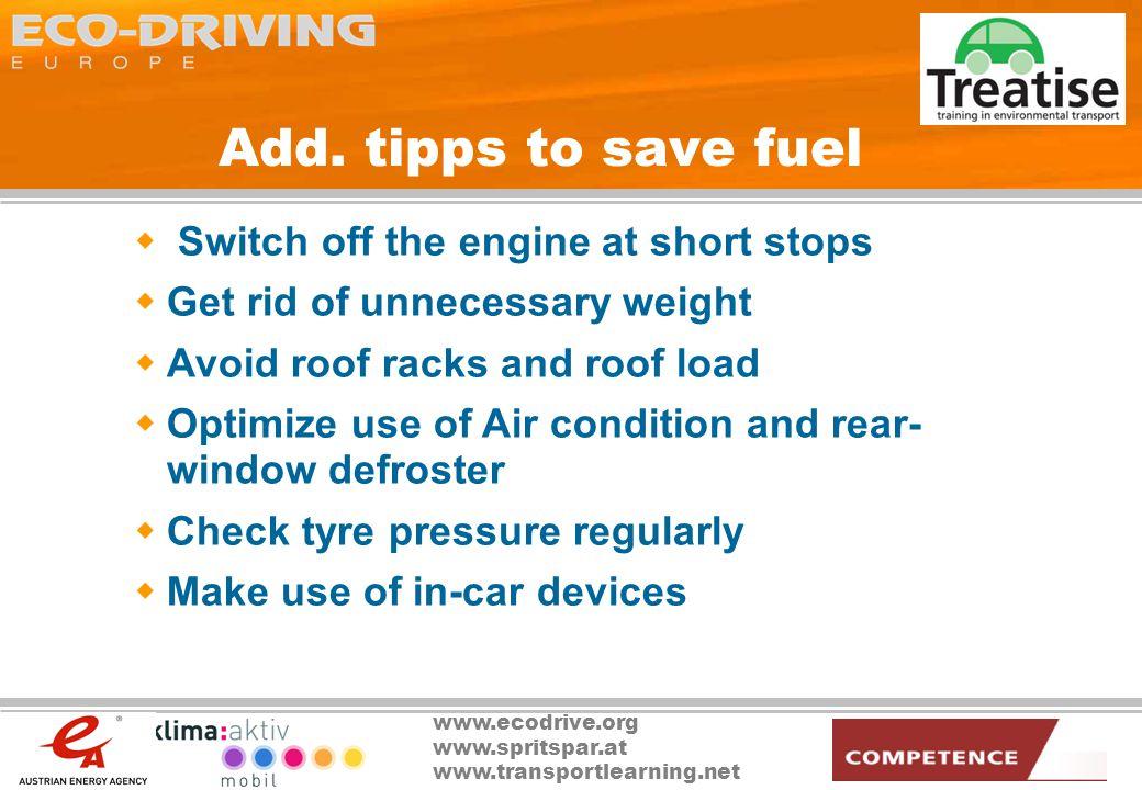 www.ecodrive.org www.spritspar.at www.transportlearning.net Add.