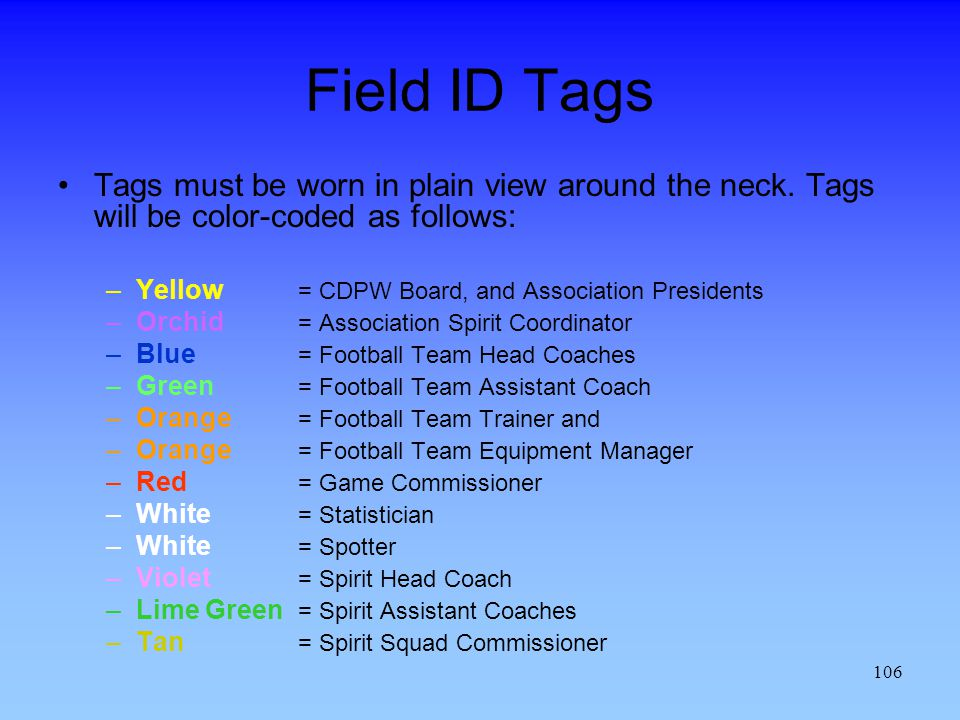 106 Field ID Tags Tags must be worn in plain view around the neck.