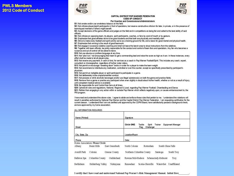 PWLS Members 2012 Code of Conduct