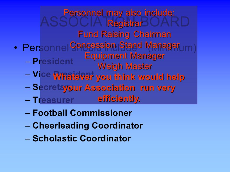 ASSOCIATION BOARD Personnel should include (Minimum) –President –Vice President –Secretary –Treasurer –Football Commissioner –Cheerleading Coordinator –Scholastic Coordinator Personnel may also include: Registrar Fund Raising Chairman Concession Stand Manager Equipment Manager Weigh Master Whatever you think would help your Association run very efficiently.