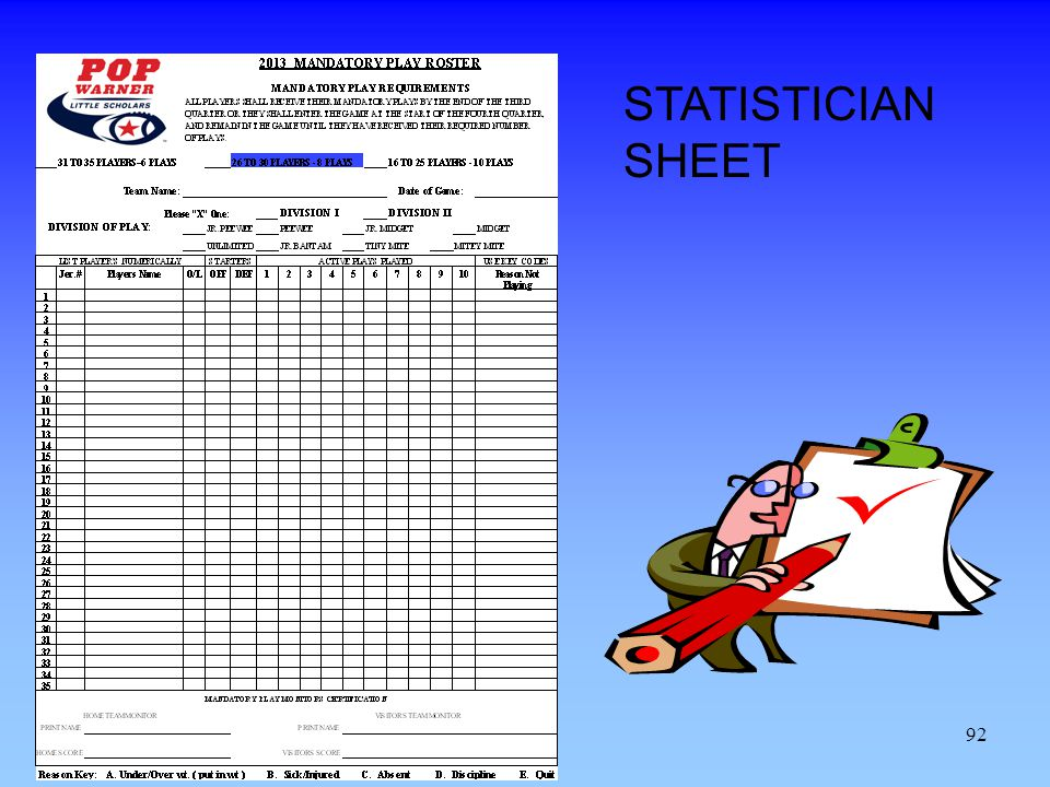 92 STATISTICIAN SHEET
