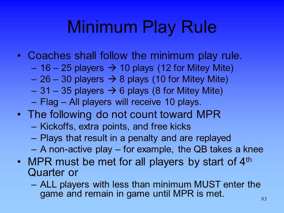 93 Minimum Play Rule Coaches shall follow the minimum play rule.