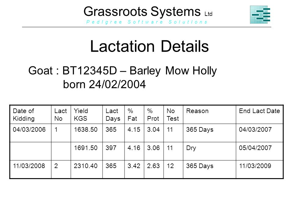 Grassroots Systems Ltd P e d I g r e e S o f t w a r e S o l u t I o n s Lactation Details Goat : BT12345D – Barley Mow Holly born 24/02/2004 Date of Kidding Lact No Yield KGS Lact Days % Fat % Prot No Test ReasonEnd Lact Date 04/03/200611638.503654.153.0411365 Days04/03/2007 1691.503974.163.0611Dry05/04/2007 11/03/200822310.403653.422.6312365 Days11/03/2009