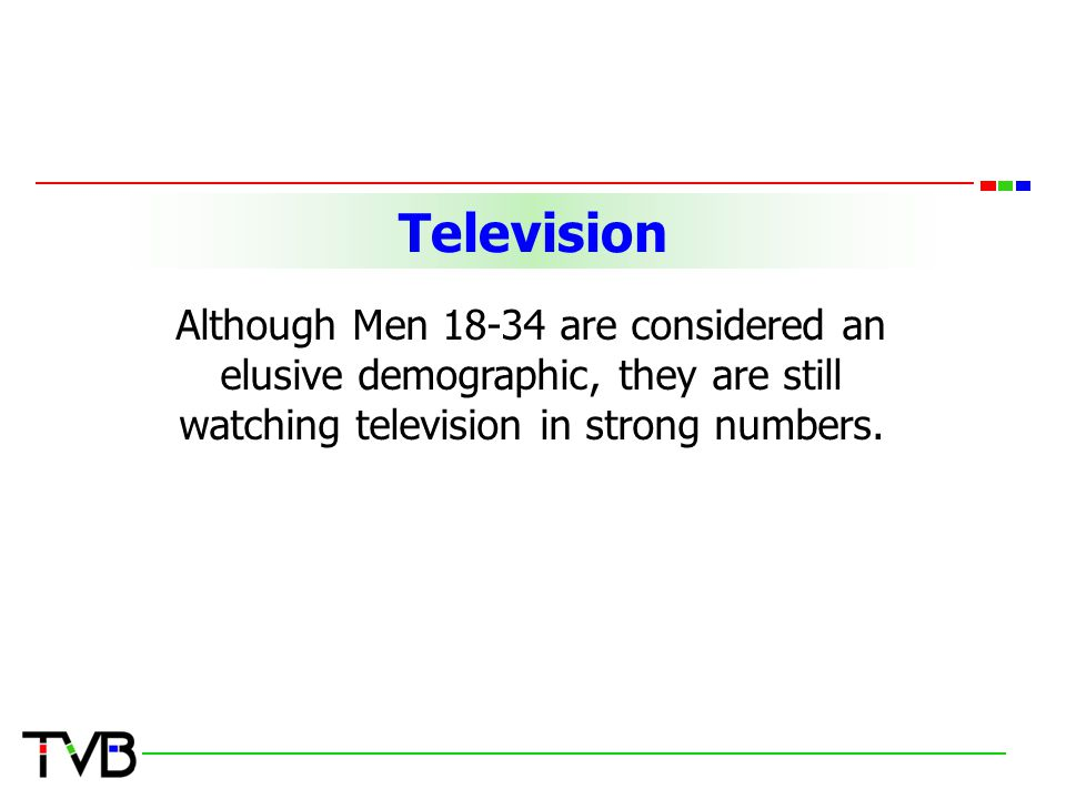TelevisionTelevision Although Men 18-34 are considered an elusive demographic, they are still watching television in strong numbers.