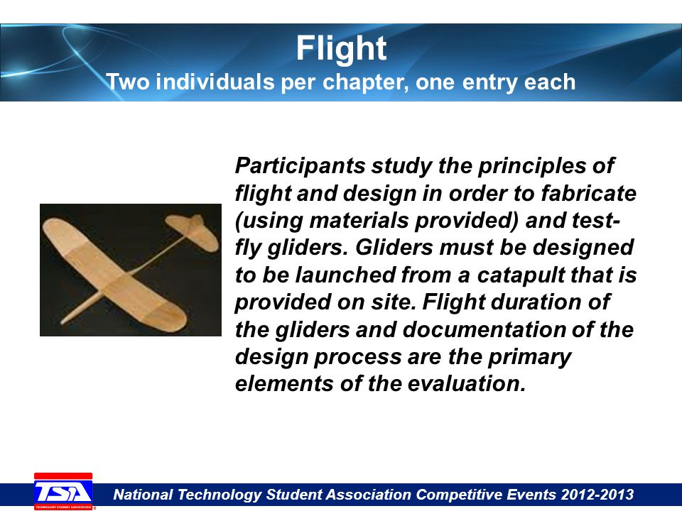 National Technology Student Association Competitive Events 2012-2013 Flight Two individuals per chapter, one entry each Participants study the principles of flight and design in order to fabricate (using materials provided) and test- fly gliders.