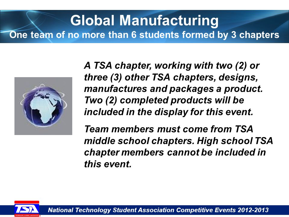 National Technology Student Association Competitive Events 2012-2013 Global Manufacturing One team of no more than 6 students formed by 3 chapters A TSA chapter, working with two (2) or three (3) other TSA chapters, designs, manufactures and packages a product.