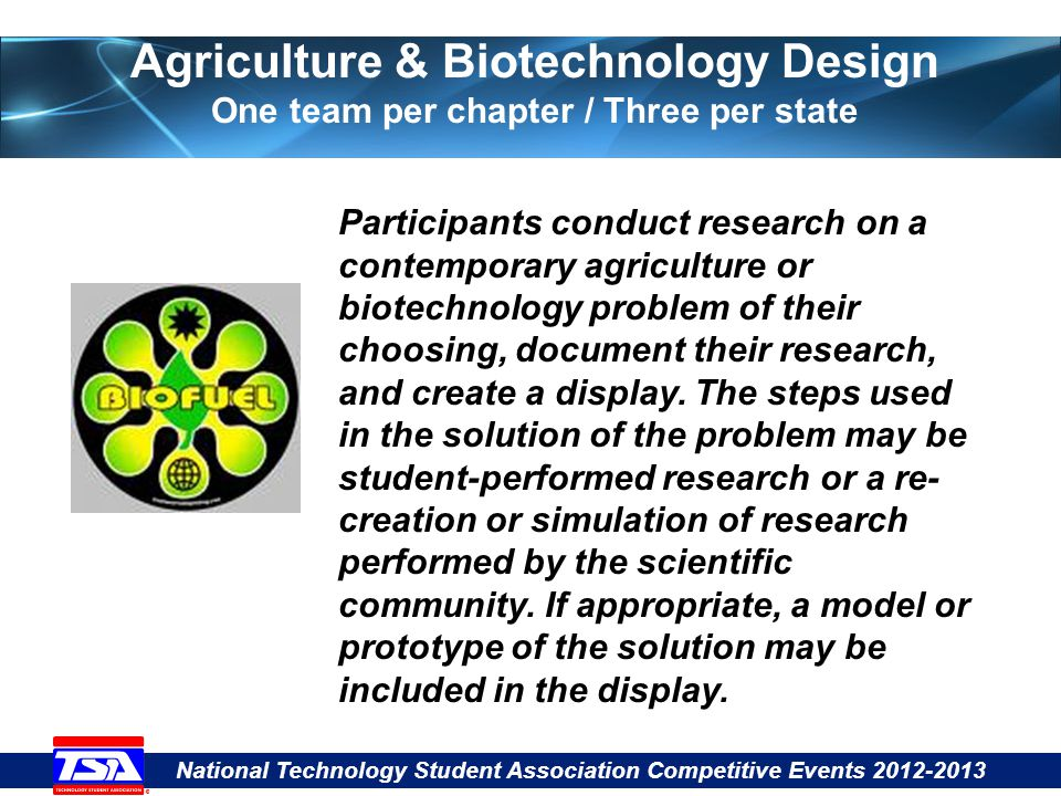 National Technology Student Association Competitive Events 2012-2013 Agriculture & Biotechnology Design One team per chapter