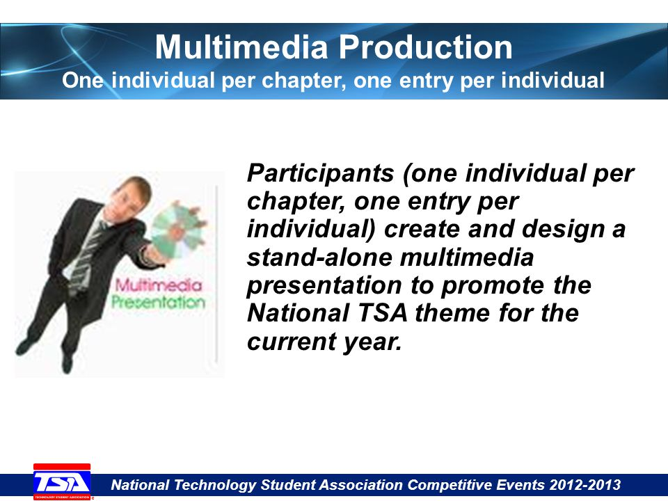 National Technology Student Association Competitive Events 2012-2013 Multimedia Production One individual per chapter, one entry per individual Participants (one individual per chapter, one entry per individual) create and design a stand-alone multimedia presentation to promote the National TSA theme for the current year.