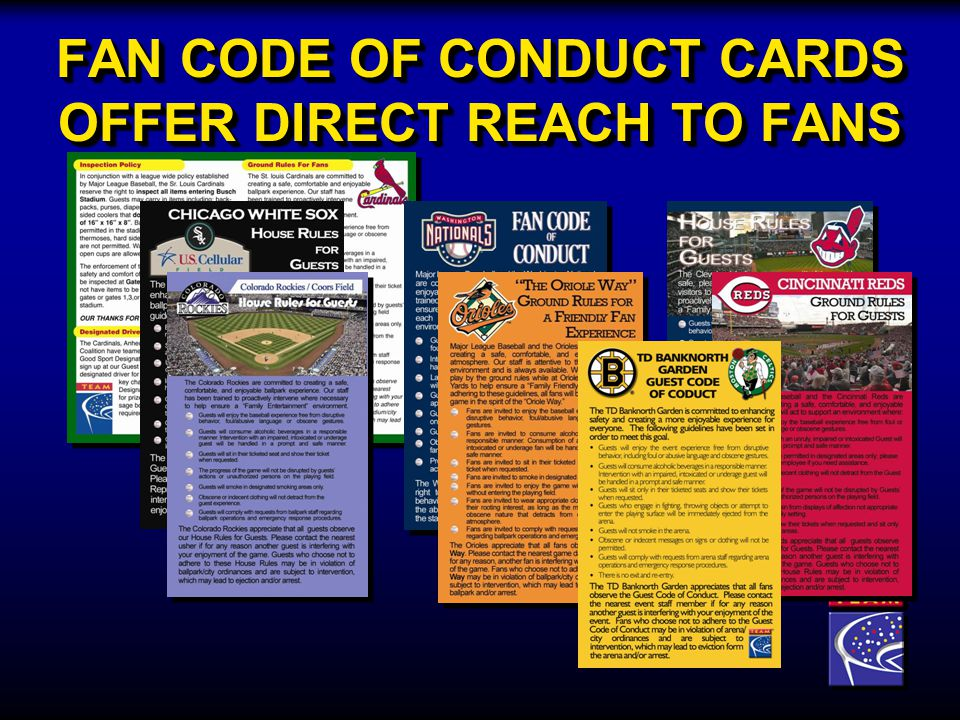 FAN CODE OF CONDUCT CARDS OFFER DIRECT REACH TO FANS