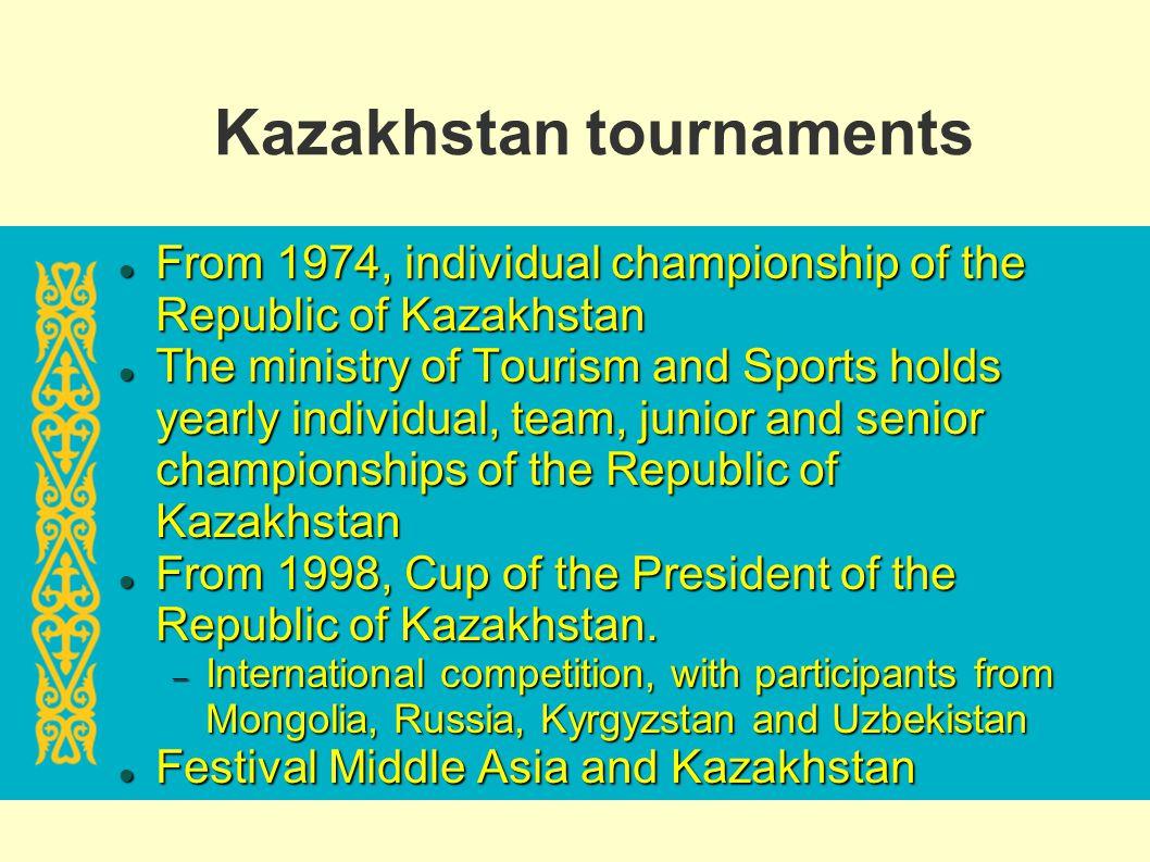 Kazakhstan tournaments From 1974, individual championship of the Republic of Kazakhstan From 1974, individual championship of the Republic of Kazakhst