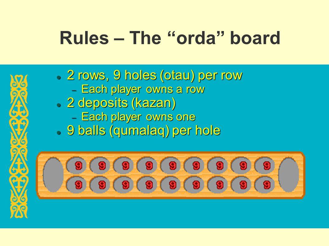 Rules – The orda board 2 rows, 9 holes (otau) per row 2 rows, 9 holes (otau) per row Each player owns a row Each player owns a row 2 deposits (kazan)