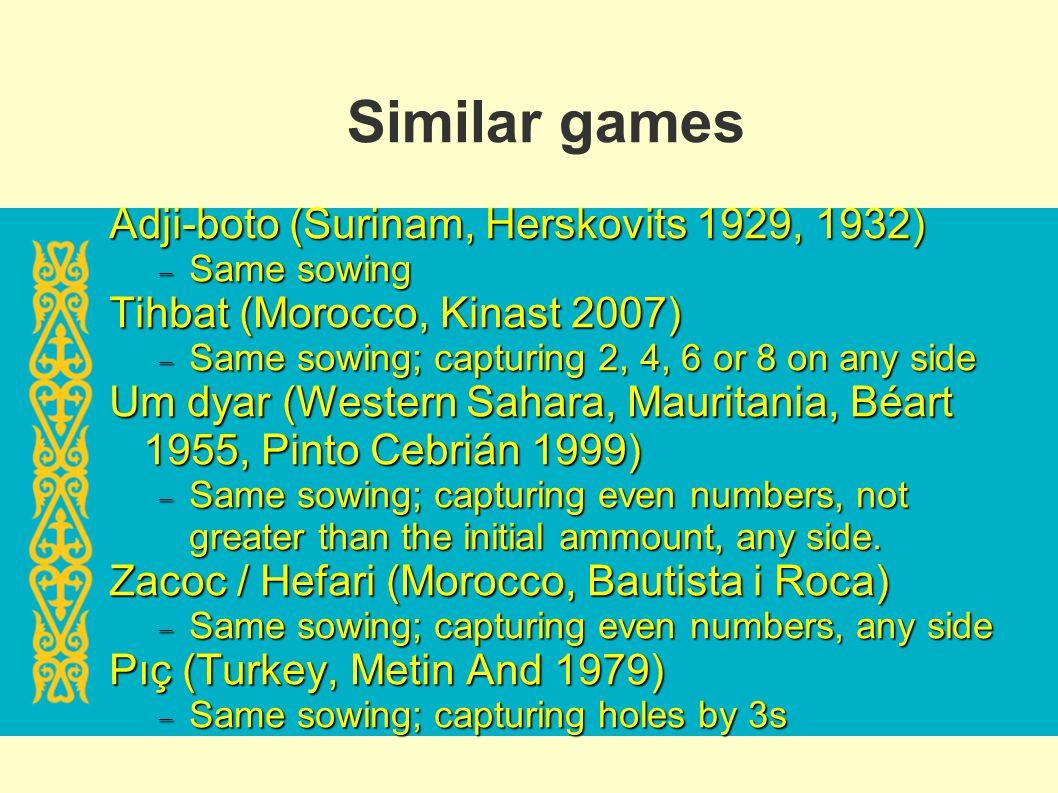 Similar games Adji-boto (Surinam, Herskovits 1929, 1932) Same sowing Same sowing Tihbat (Morocco, Kinast 2007) Same sowing; capturing 2, 4, 6 or 8 on