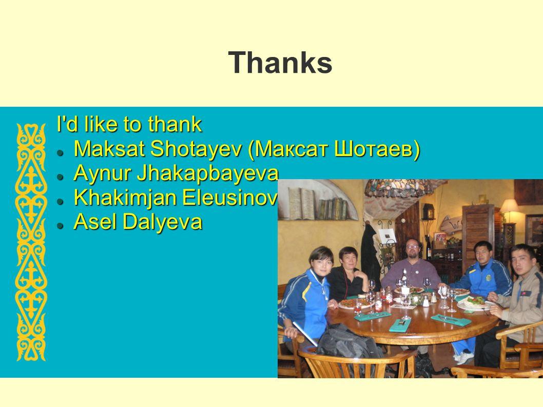 Thanks I'd like to thank Maksat Shotayev (Максат Шотаев) Maksat Shotayev (Максат Шотаев) Aynur Jhakapbayeva Aynur Jhakapbayeva Khakimjan Eleusinov Kha