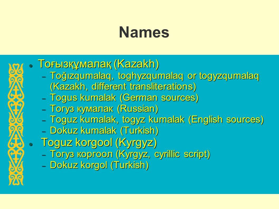Names Тоғызқұмалақ (Kazakh) Тоғызқұмалақ (Kazakh) Toğızqumalaq, toghyzqumalaq or togyzqumalaq (Kazakh, different transliterations) Toğızqumalaq, toghy