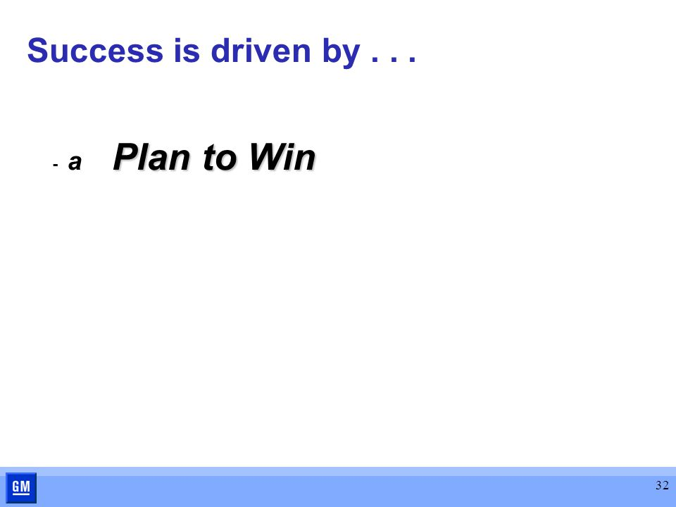 32 Success is driven by... Plan to Win - a Plan to Win
