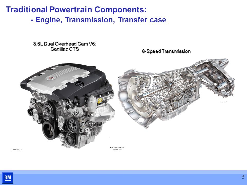 5 6-Speed Transmission 3.6L Dual Overhead Cam V6: Cadillac CTS Traditional Powertrain Components: - Engine, Transmission, Transfer case