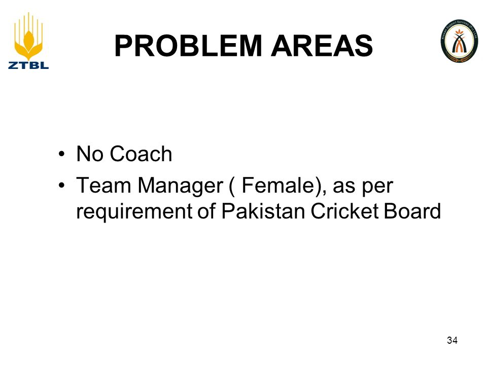 PROBLEM AREAS No Coach Team Manager ( Female), as per requirement of Pakistan Cricket Board 34