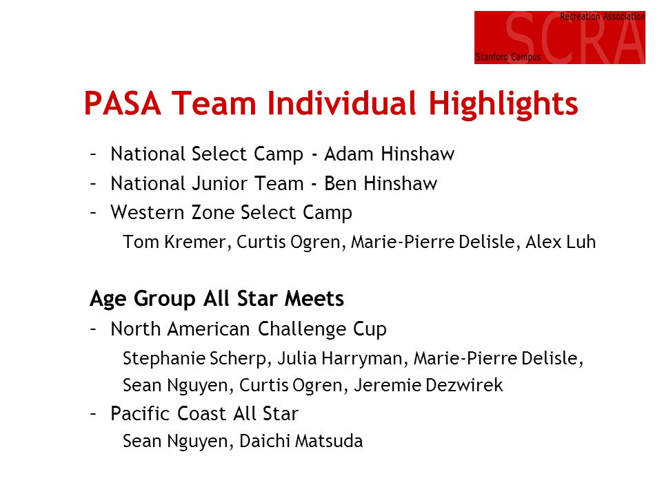 PASA Team Individual Highlights –National Select Camp - Adam Hinshaw –National Junior Team - Ben Hinshaw –Western Zone Select Camp Tom Kremer, Curtis