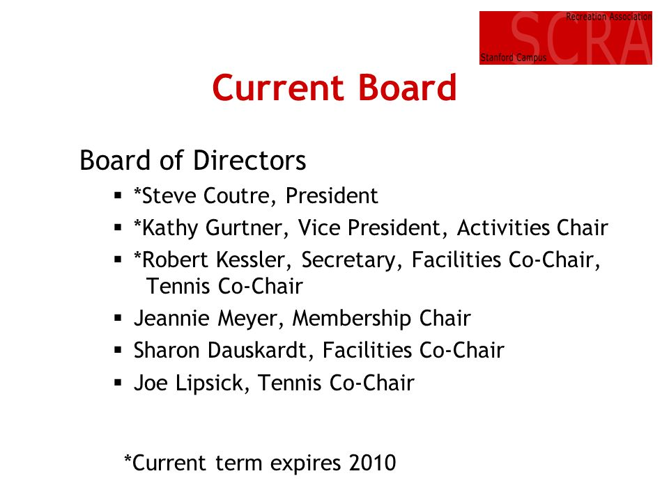 Current Board Board of Directors *Steve Coutre, President *Kathy Gurtner, Vice President, Activities Chair *Robert Kessler, Secretary, Facilities Co-C